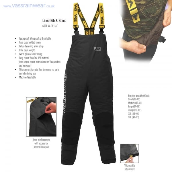 Team vass 175 winter bib and brace fleece lined for Waterproof fishing bibs