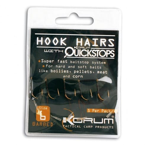 Korum Barbed Hookhairs with Quickstops