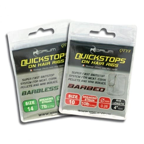 Korum Hair Rigs Barbless with Quickstops 15inch