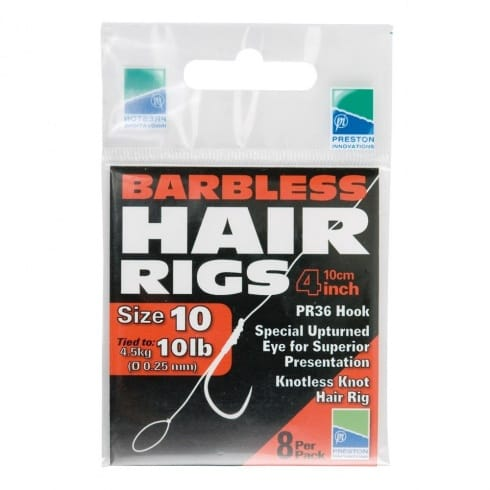 Preston Innovations Hooks PR 36 barbless hair rigs 4in