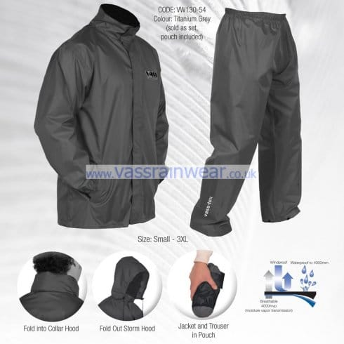 Vass Grey Lightweight Waterproof Jacket with Trousers, Small to 3XL