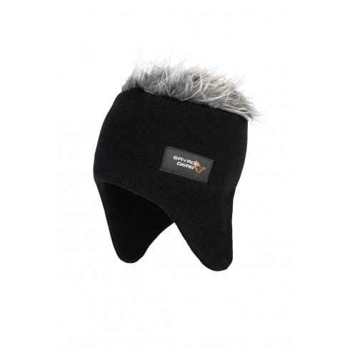 Savage Gear Black Hairy Hat with Ear Covers