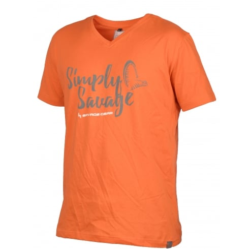 Savage Gear Simply Savage V-neck Tee Shirt Orange