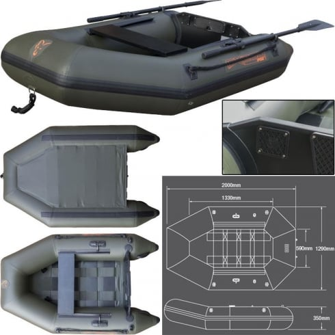 Fox FX200 Inflatible Boat, Including Hard Back Marine Ply Floor, 2.0M