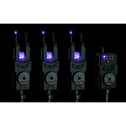 Prologic SMX Custom Black Purple Wireless Bite Alarms WTS 3+1 with Receiver
